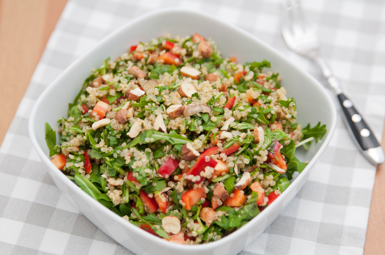 Healthy Quinoa Salad with red pepper and hazelnuts
